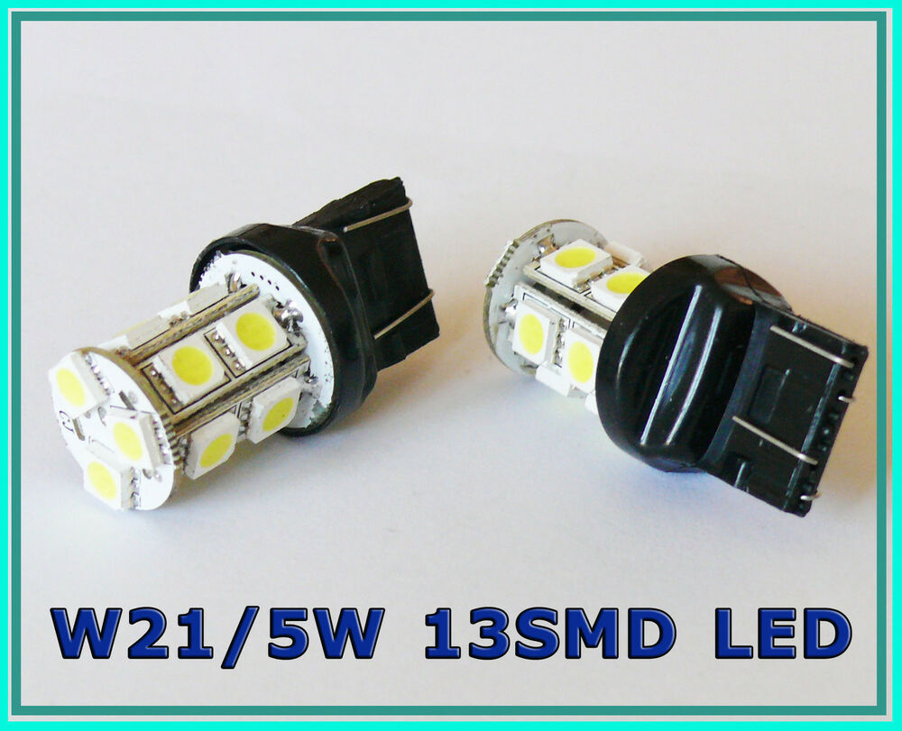 w21 5w 580 7443 t20 white 13 smd led stop tail car bulbs