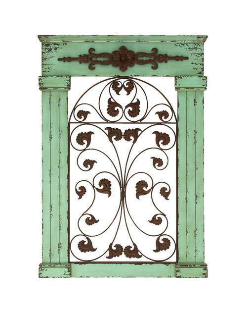 Wooden Gate Wall Decor : Tuscan old world rustic metal and wood scroll wall gate