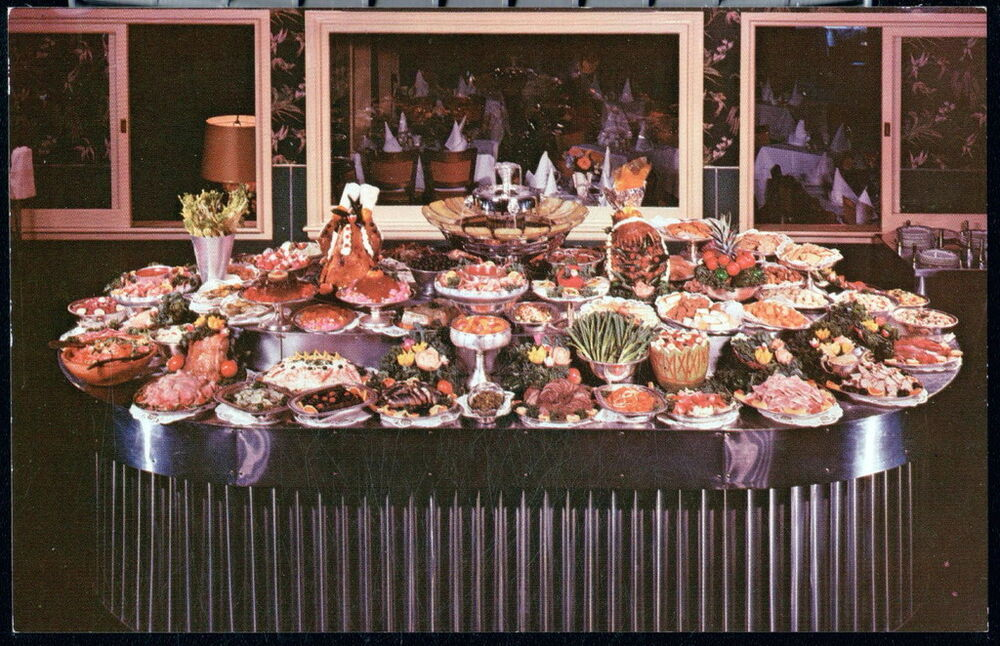Somerville nj stockholm restaurant smorgasbord buffet table vintage postcard - Buffet table integree ...