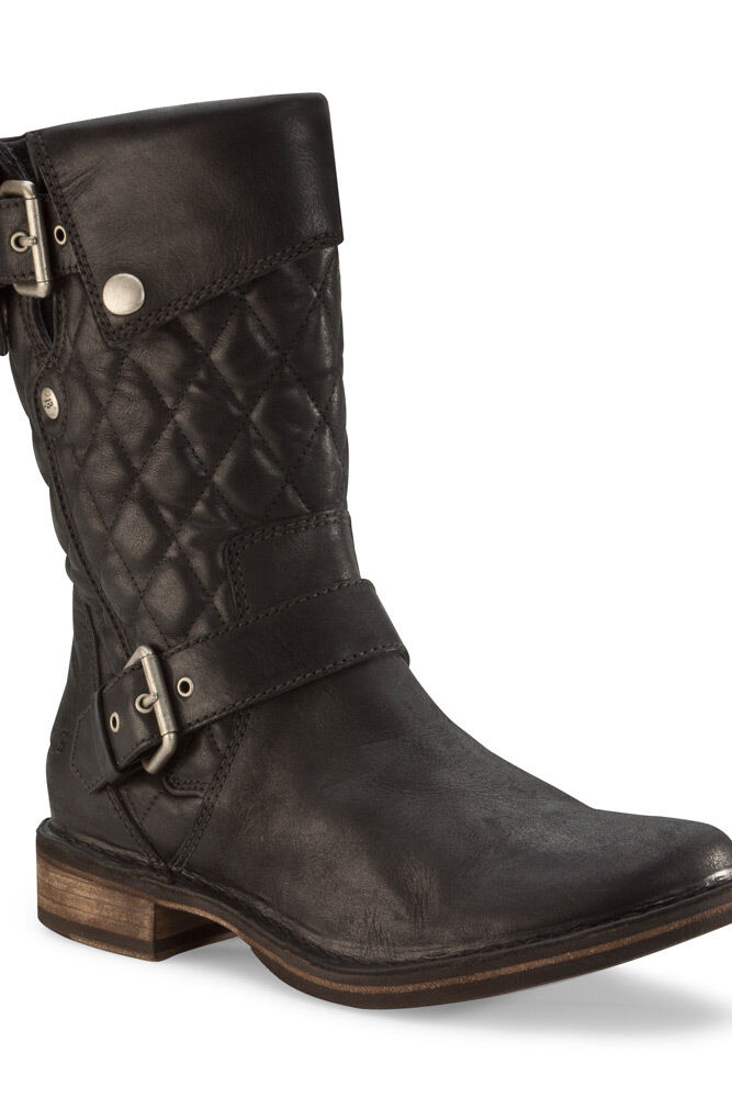 ugg conor leather buckles motorcycle boots black