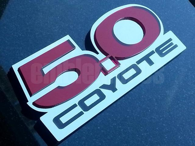 Mustang 5 0 W Coyote Acrylic And Stainless Steel Emblem