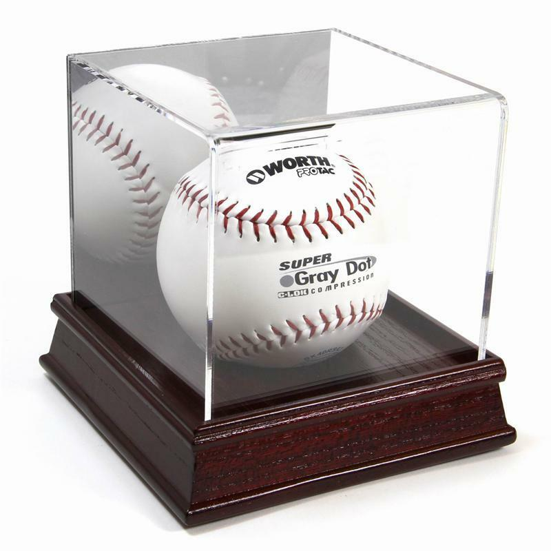 deluxe softball cube display case w wood base