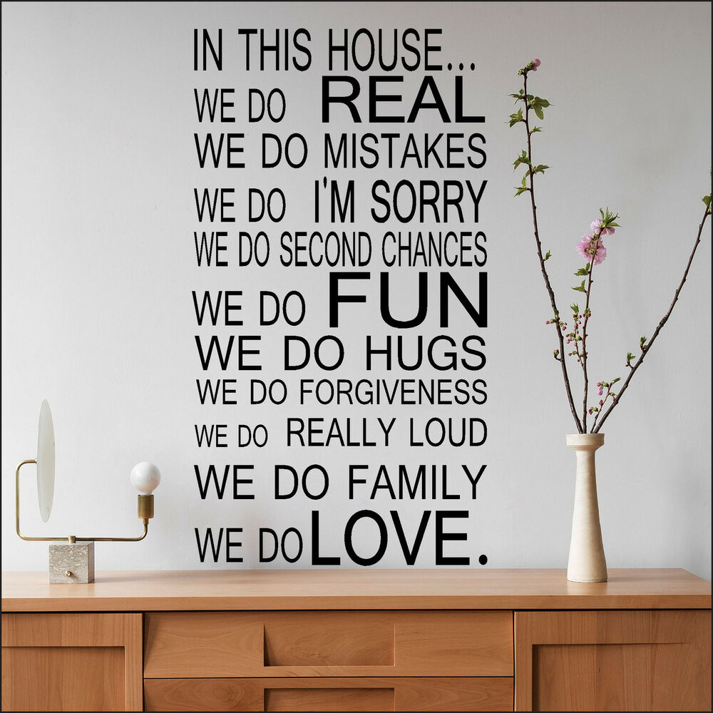 Family home quote rules vinyl wall art sticker mural decal home - Large Quote House Rules Family Love Fun Art Wall Sticker