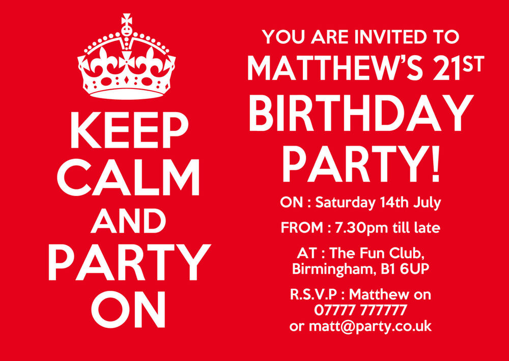 keep calm and carry on personalised party invitations x10