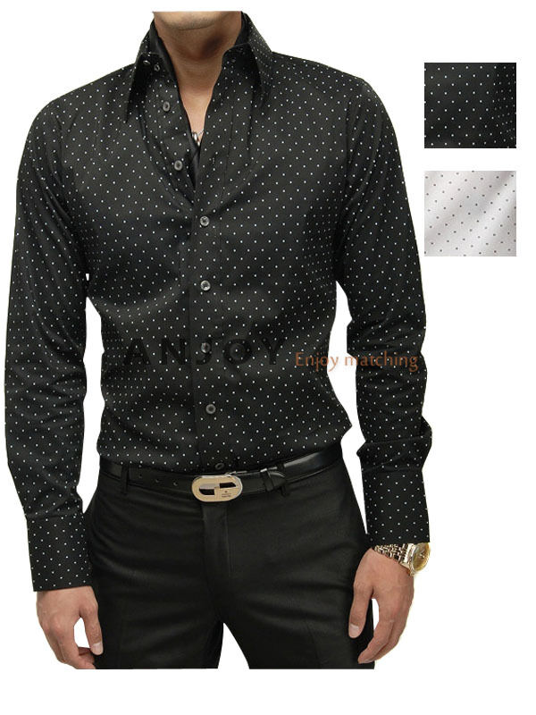 New 2012 mens casual black white polka dots slim fit dress for Slim fit polka dot shirt
