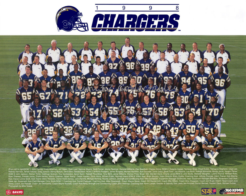 1998 San Diego Chargers 8x10 Team Photo Picture Junior