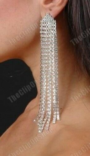 clip on 55quot very long crystal rhinestone sparkly earrings