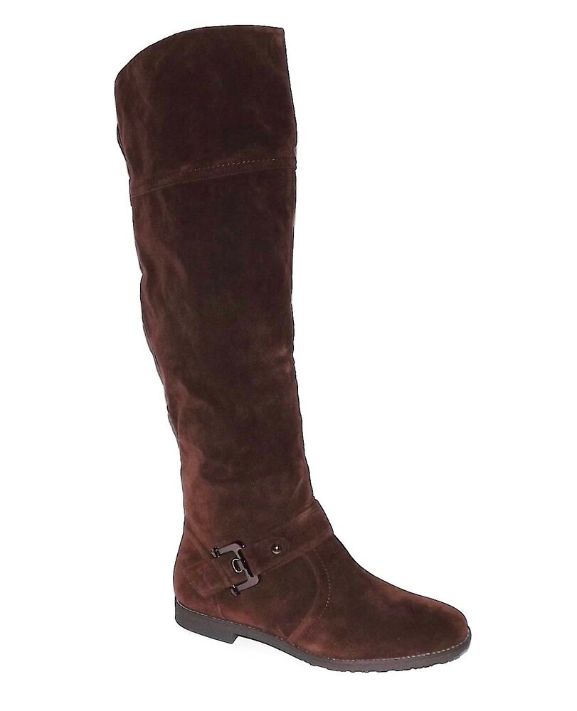 womens brown faux suede above knee high cowboy motorcycle