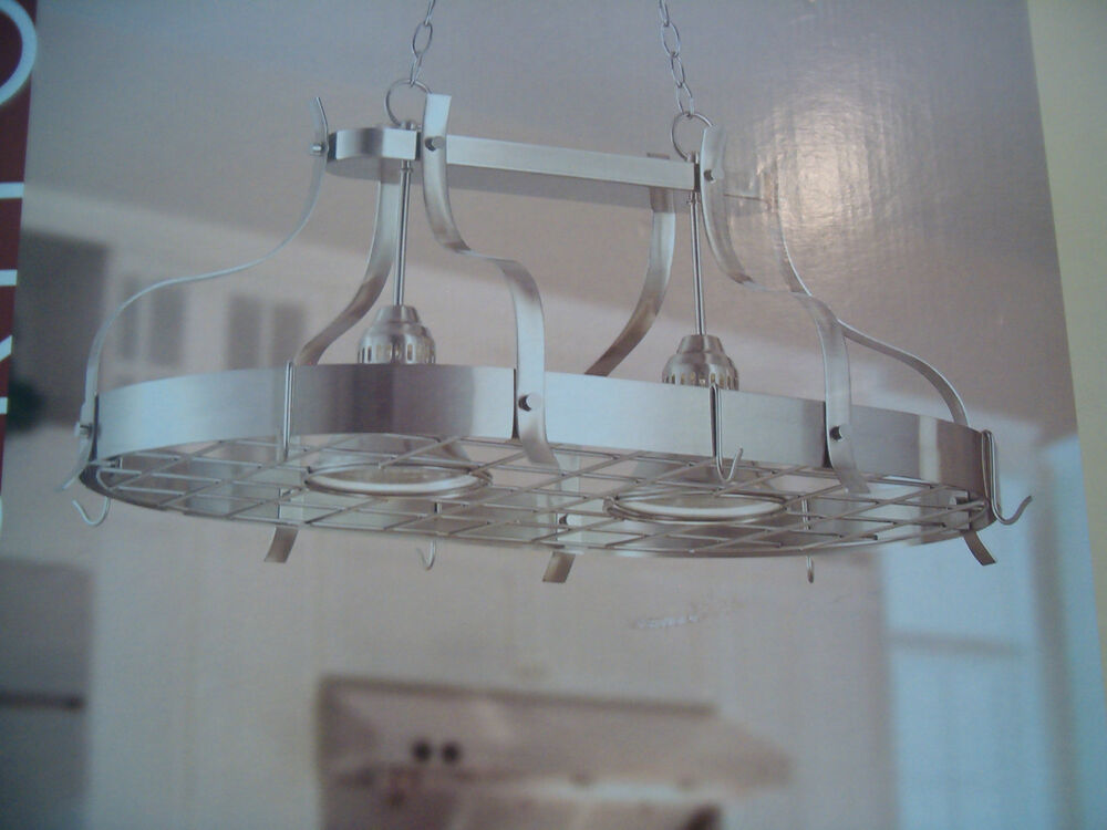 Kitchen Island Pot Rack Light Brushed Nickel Bar Hanging