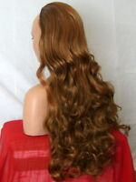 Half Wig Fall Clip In Hair Piece Curly Long 3/4 wig fall Brown highlight X24