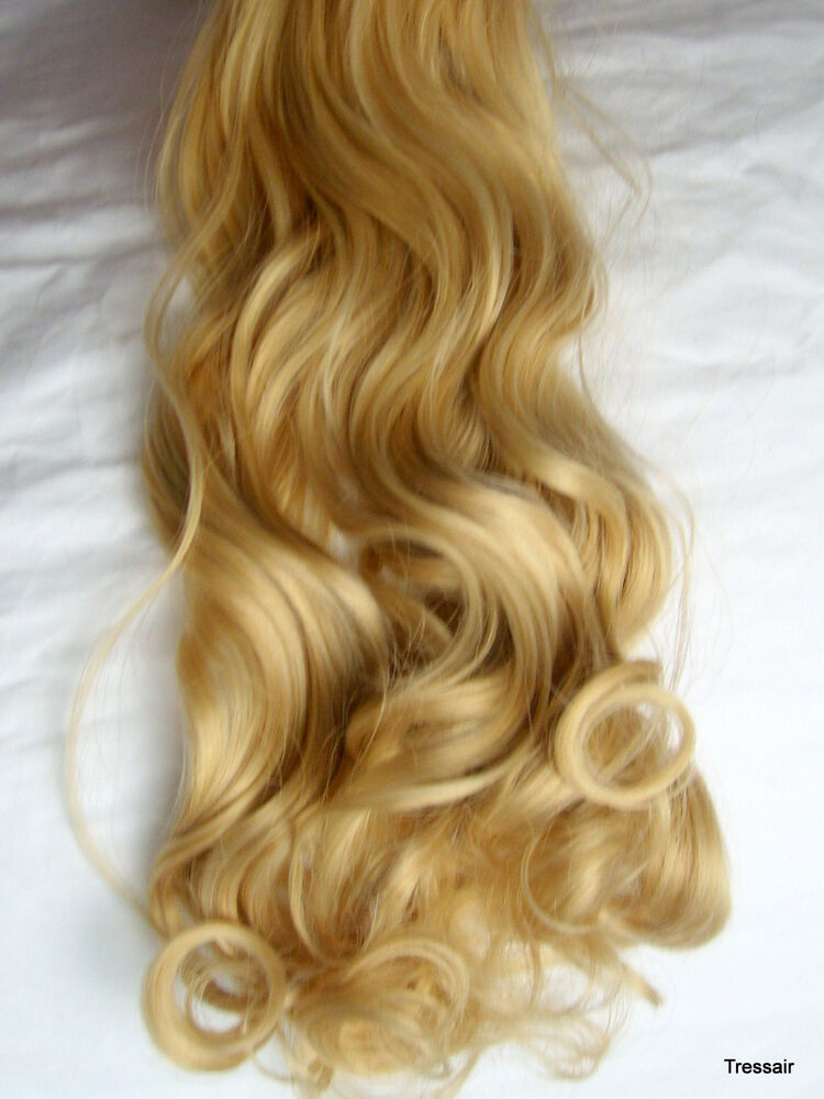 24 Quot Clip In Hair Extensions Curly Wavy Golden Blonde 26