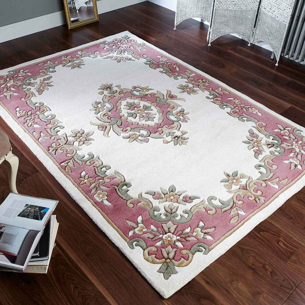 Indian Aubusson Cream / Rose Pink Wool Traditional Rugs