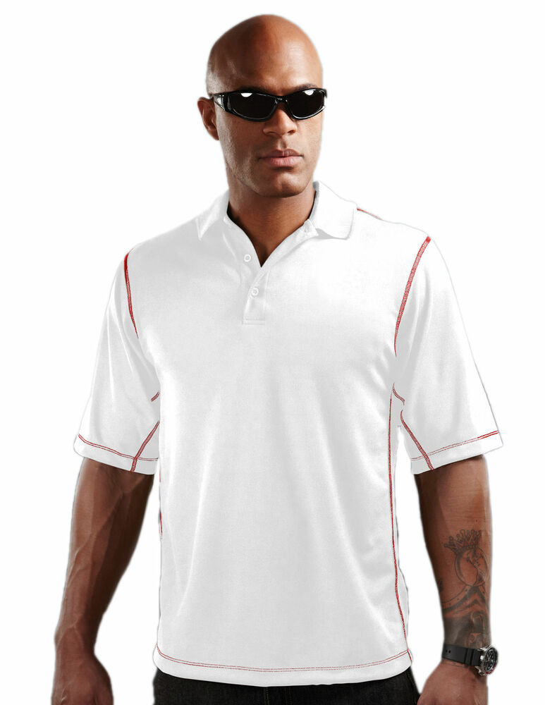Tri mountain men 39 s polyester short sleeve open cuff polo for Men s polyester polo shirts