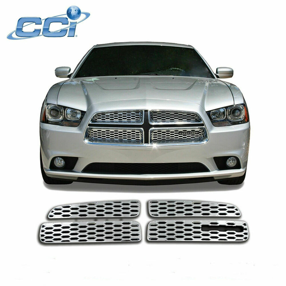 2011 2012 dodge charger 4pc chrome abs grille grill insert. Black Bedroom Furniture Sets. Home Design Ideas