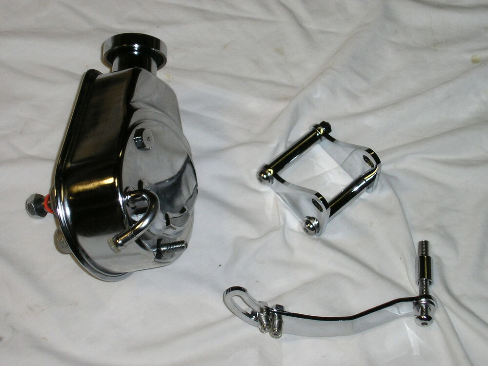 Chrome Saginaw Power Steering Pump Key Way Amp Mounting Bracket Chevy Gm Sbc Ebay