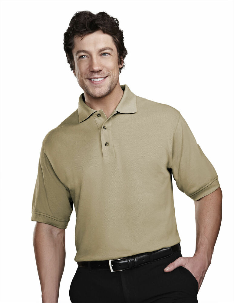 Tri mountain men 39 s three button finished placket short for Men s polyester polo shirts