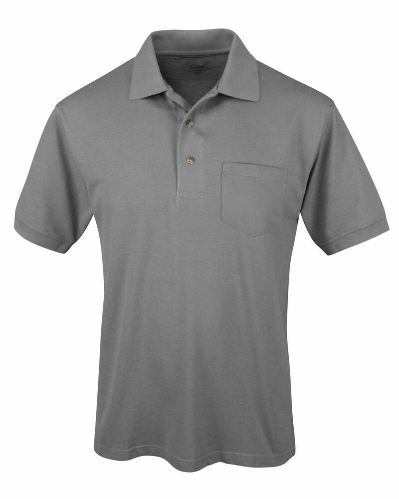 Tri mountain men 39 s short sleeve chest pocket sport pique for Short sleeve polo shirt with pocket