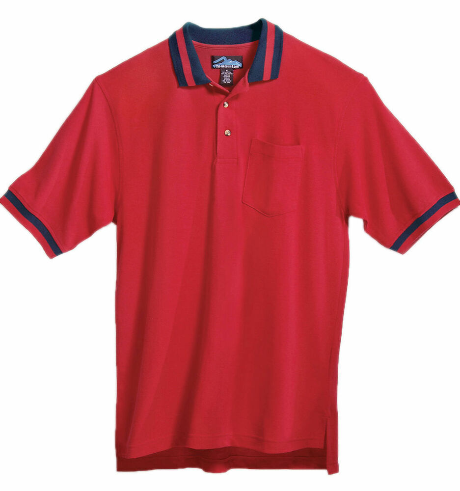 Tri mountain men 39 s cotton polly rib collar chest pocket for Big and tall custom polo shirts