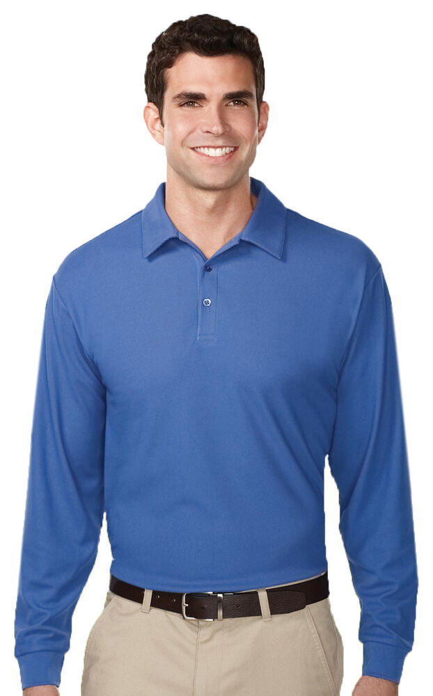 Tri mountain men 39 s polyester moisture wick long sleeve for Men s polyester polo shirts