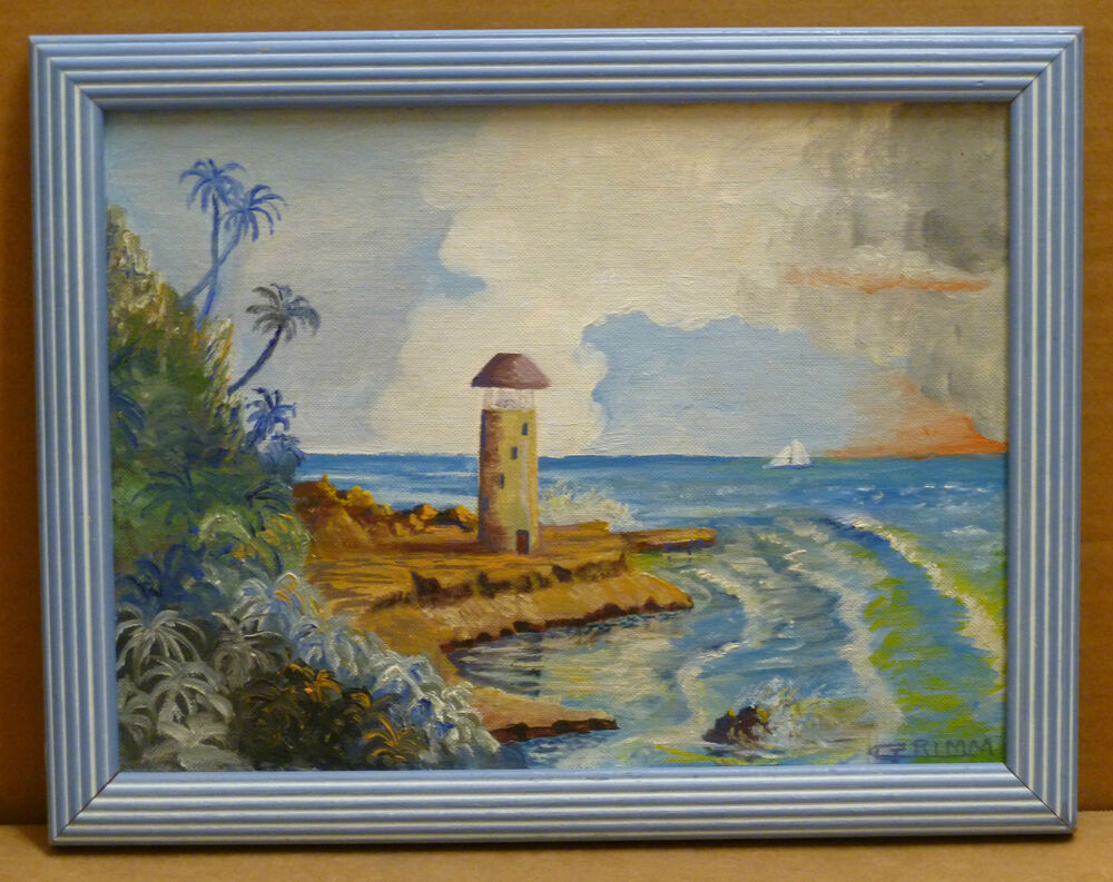 Light house ocean waves 12x9 original tropical landscape for Oil paintings for the home