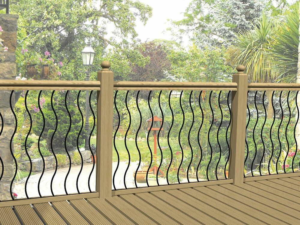 Metal garden decking railing panels patio rails steel for Garden decking fencing