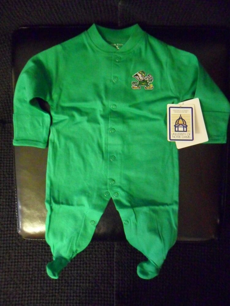 New Nd Notre Dame Irish Long Sleeve Footed Romper W Snaps