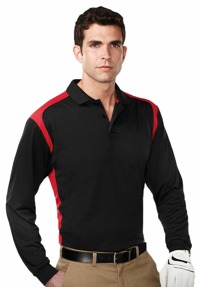 Tri Mountain Men 39 S Polyester Rib Collar Long Sleeve Golf