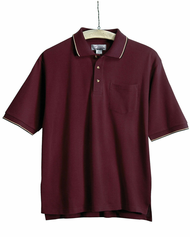 Tri mountain men 39 s big and tall two tone trim collar for Big and tall polo shirts with pockets