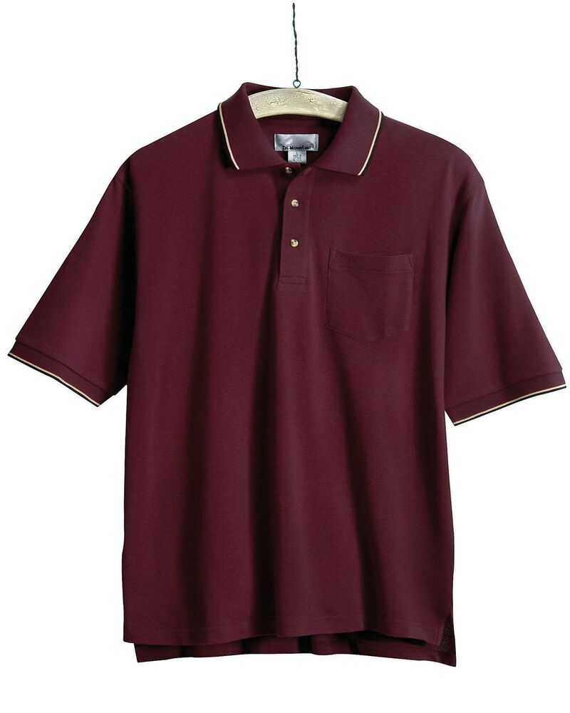 Tri mountain men 39 s big and tall two tone trim collar for Large tall golf shirts