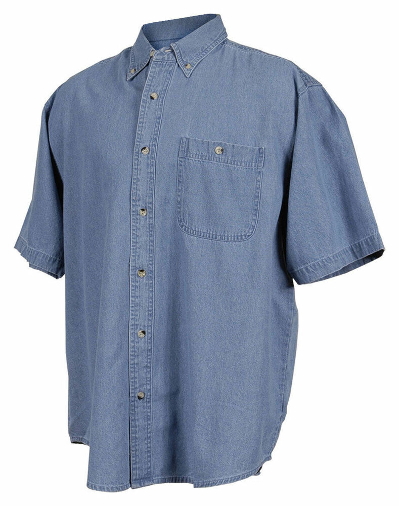 Tri mountain men 39 s big and tall stonewashed yoke back for Mens tall denim shirt