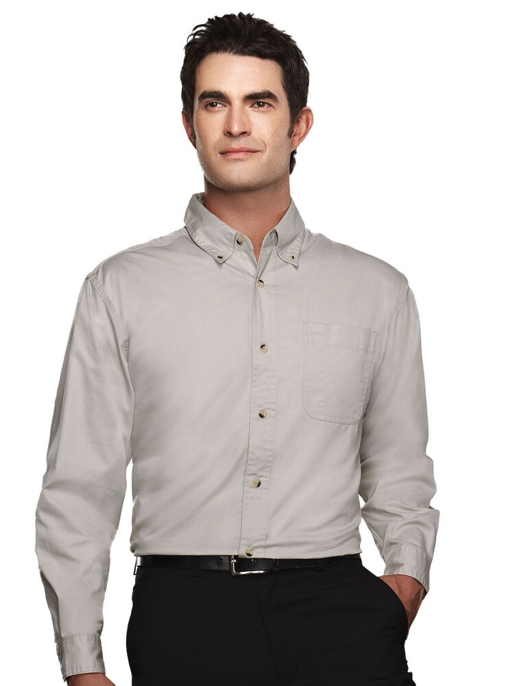 Tri mountain men 39 s big and tall two button cuff twill for Tall mens dress shirts