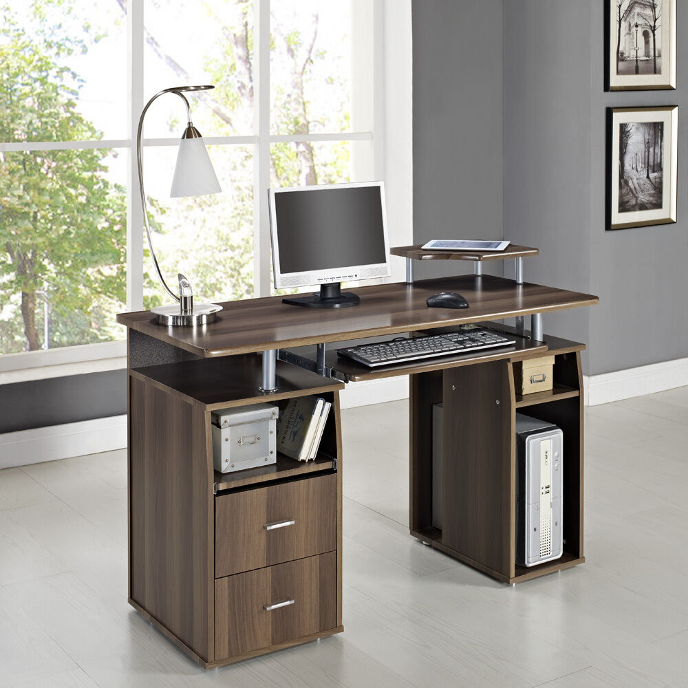 PC Table Home Office Work Station Computer Desk Dark