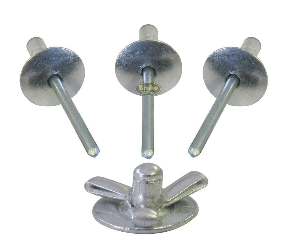 exploding large head mill rivets pop rivet 50ct 3 16 tri fold racing fasteners ebay. Black Bedroom Furniture Sets. Home Design Ideas