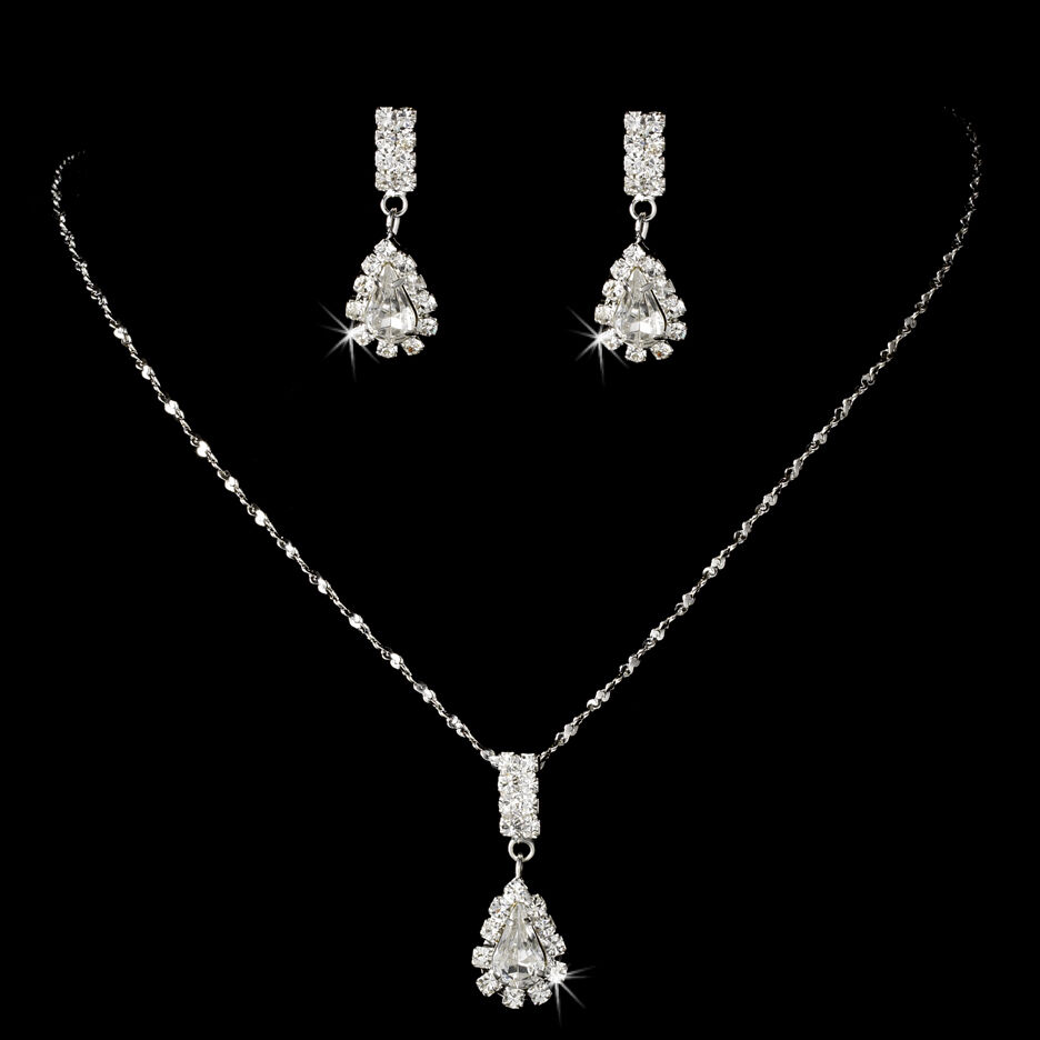 AFFORDABLE Rhinestone Teardrop BRIDESMAID JEWELRY SET Necklace And Earring | EBay