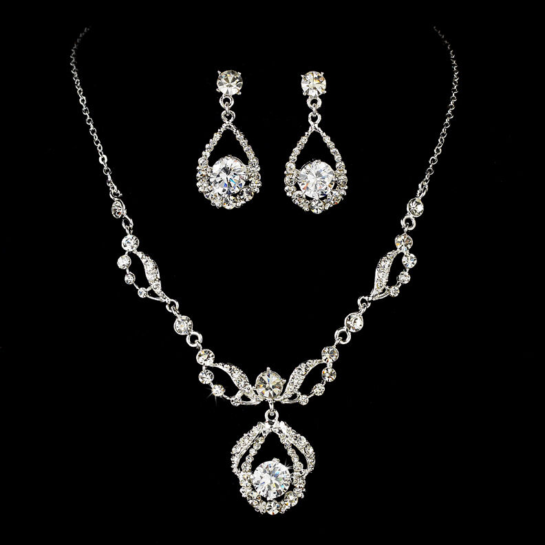 ELEGANT DIAMANTE BRIDAL JEWELRY SET Silver Rhinestone Necklace U0026 Earring Set | EBay