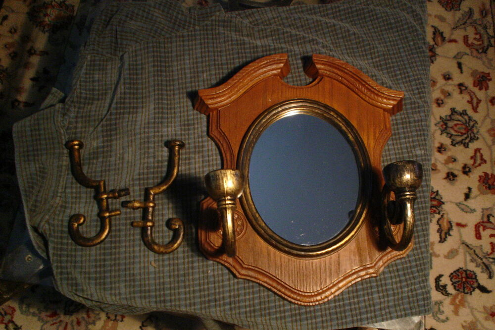 homco mirror wall sconce candle holders or coat hooks ebay. Black Bedroom Furniture Sets. Home Design Ideas
