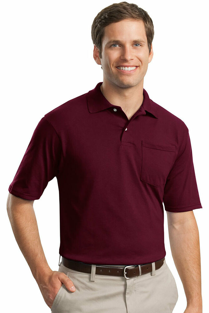Jerzees men 39 s welt knit collar short sleeve pocket polo for Men s athletic polo shirts