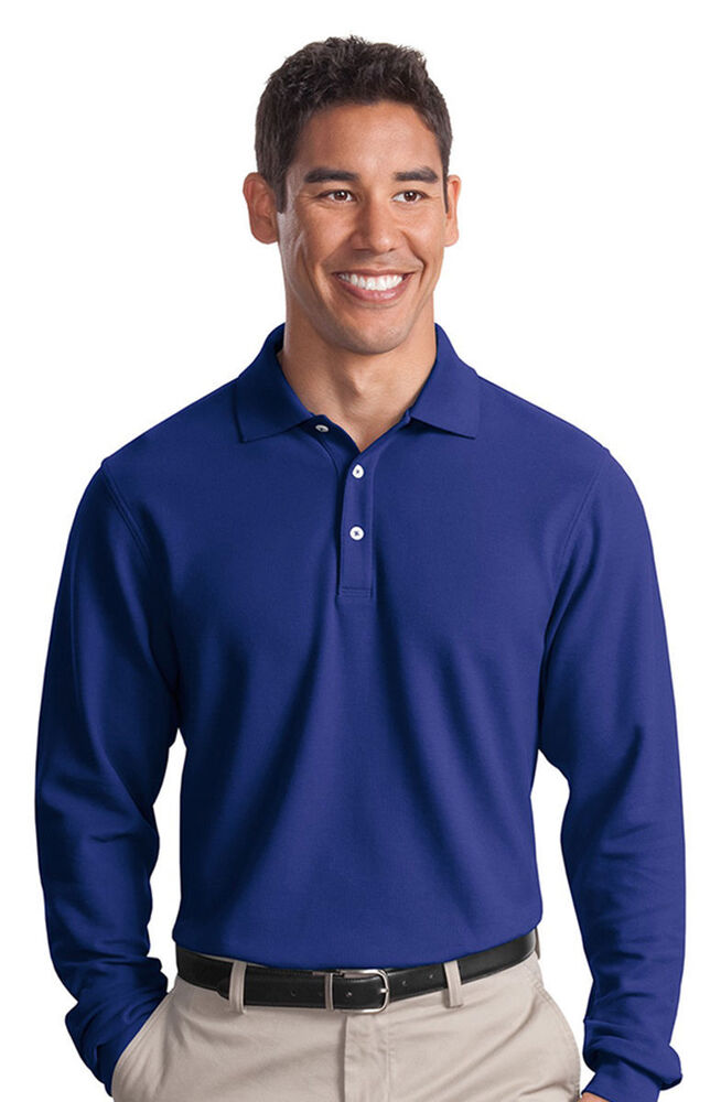 port authority men 39 s three button placket long sleeve