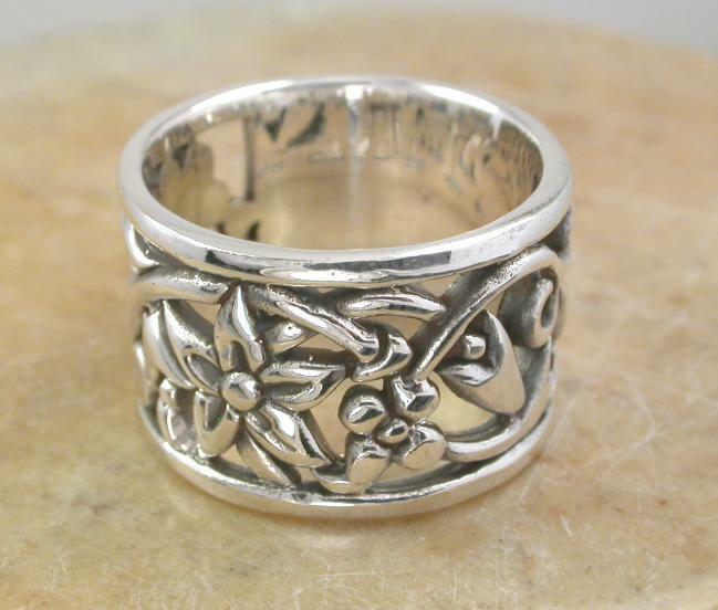 wide sterling silver plumeria flower band ring size 6