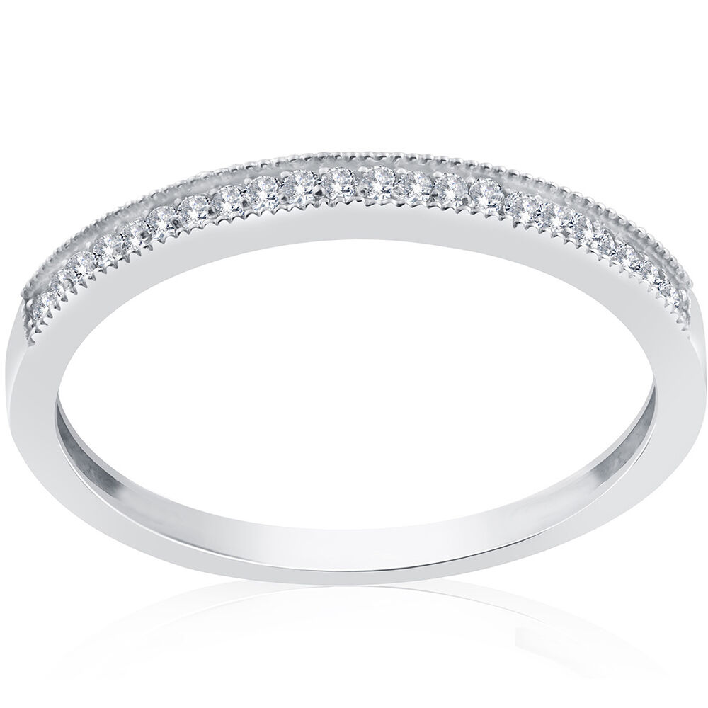 1 8ct Diamond Wedding Ring 10K White Gold