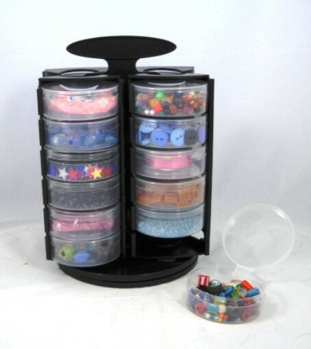 Bead and craft findings storage handy carousel with 24 for Darice jewelry designer bead storage system with 24 containers