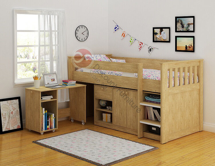 New Merlin Cabin Bed Study Desk Bookcase Storage And Bunk