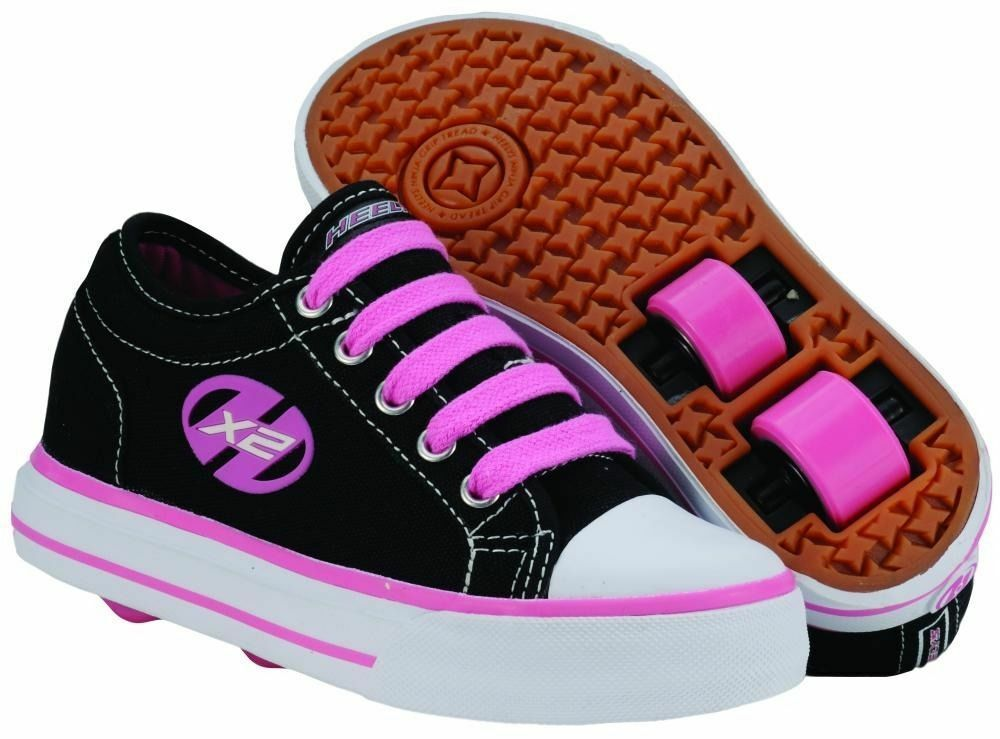 heelys hx2 jazzy kids 39 size wheel shoes trainers skates black pink ebay. Black Bedroom Furniture Sets. Home Design Ideas