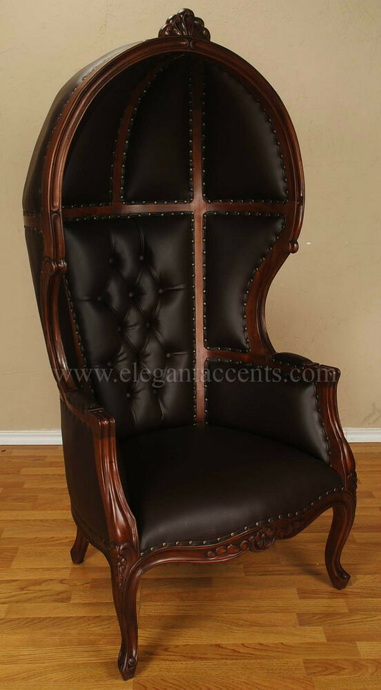 Brown Finish Porter Chair Balloon Bonnet Canopy Dome