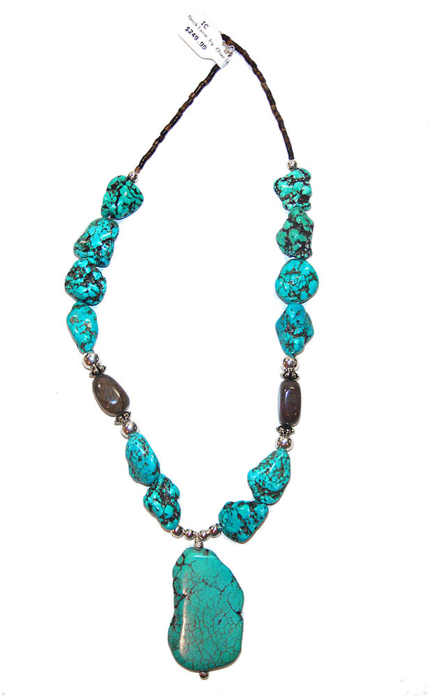 navajo heavy necklace by charlene with turquoise