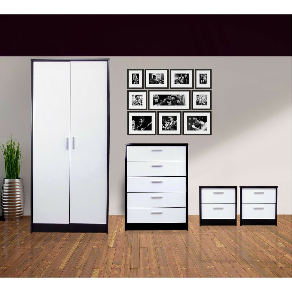 bedroom furniture set wardrobe chest 2x bedside white black ebay