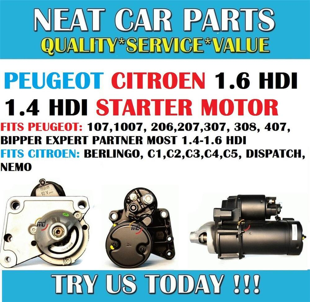 peugeot starter motor 107 1007 206 207 307 308 407 expert 1 4 hdi 1 6 hdi new ebay. Black Bedroom Furniture Sets. Home Design Ideas