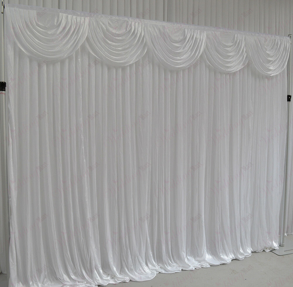 3mx3m white wedding backdrop curtain with detachable swag for sale ebay. Black Bedroom Furniture Sets. Home Design Ideas