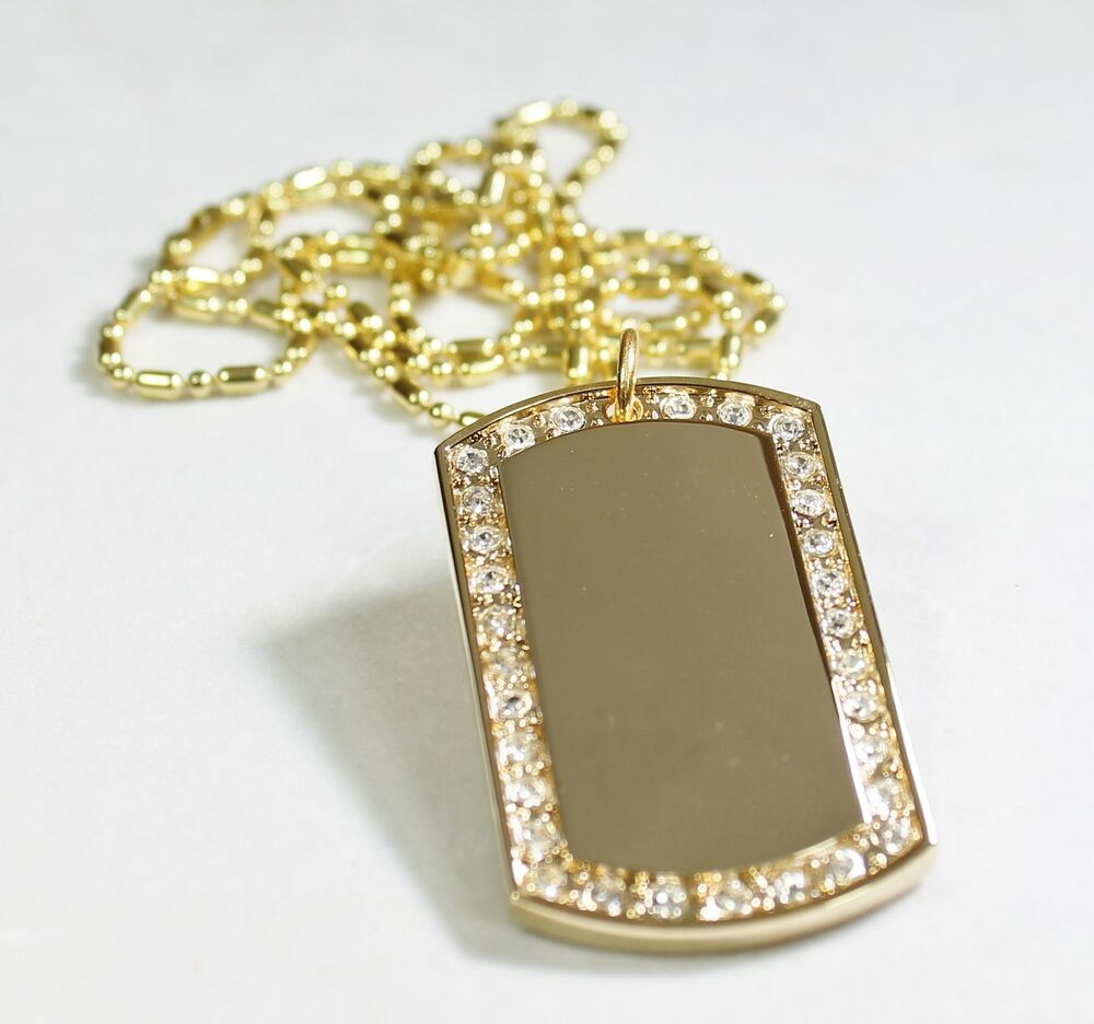 Gold Tone Plated Frame Cz Bling Iced Out Ice Custom Dog