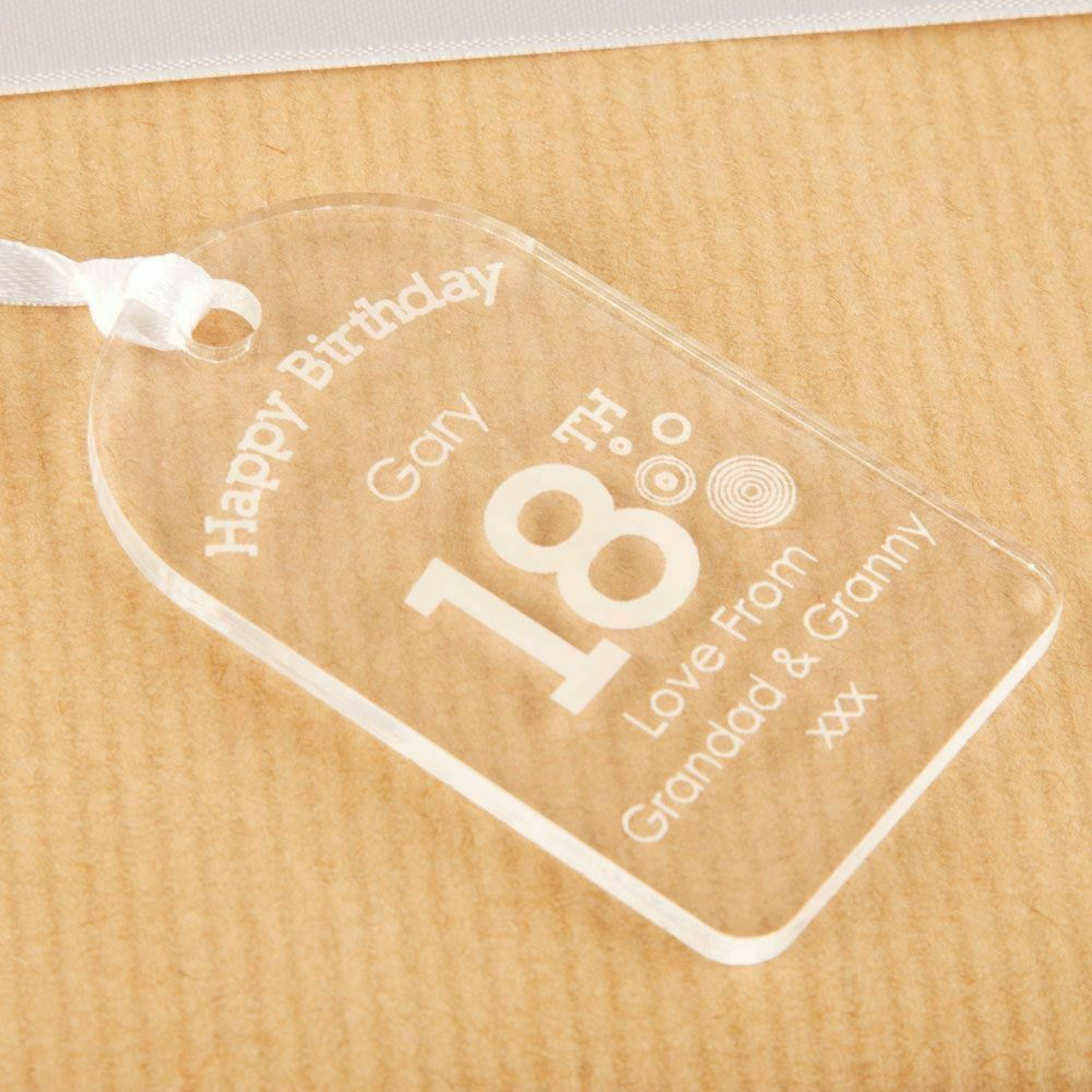 Personalised 18th Birthday Bottle Tag Clear Acrylic Boy